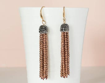 Rose gold Beaded tassel earrings, Boho earrings, Rose gold Tassel dangle earrings, Fall earrings, Statement earrings, Christmas earrings