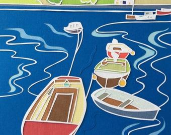 Seaside papercut, nautical art, papercut picture, seaside art, harbour picture, cornish harbour, coastal art, coastal decor, nautical