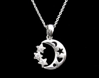 Cubic Zirconia CZ Round Crystal Small Crescent Moon Star Pendant Charm Chain Necklace Silver Tone Clear