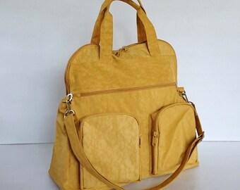 Sale - Water Resistant Nylon Bag in Golden Yellow - Messenger, Laptop bag, Crossbody bag, Tote, Shoulder bag, Gym bag, Women - AUTUMN