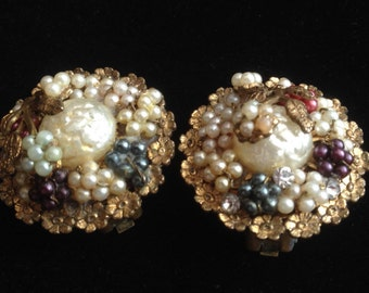 Unsigned Early Schiparelli, Haskell or Robert/ Faux Glass Pearls and Brass Clip Back Earrings