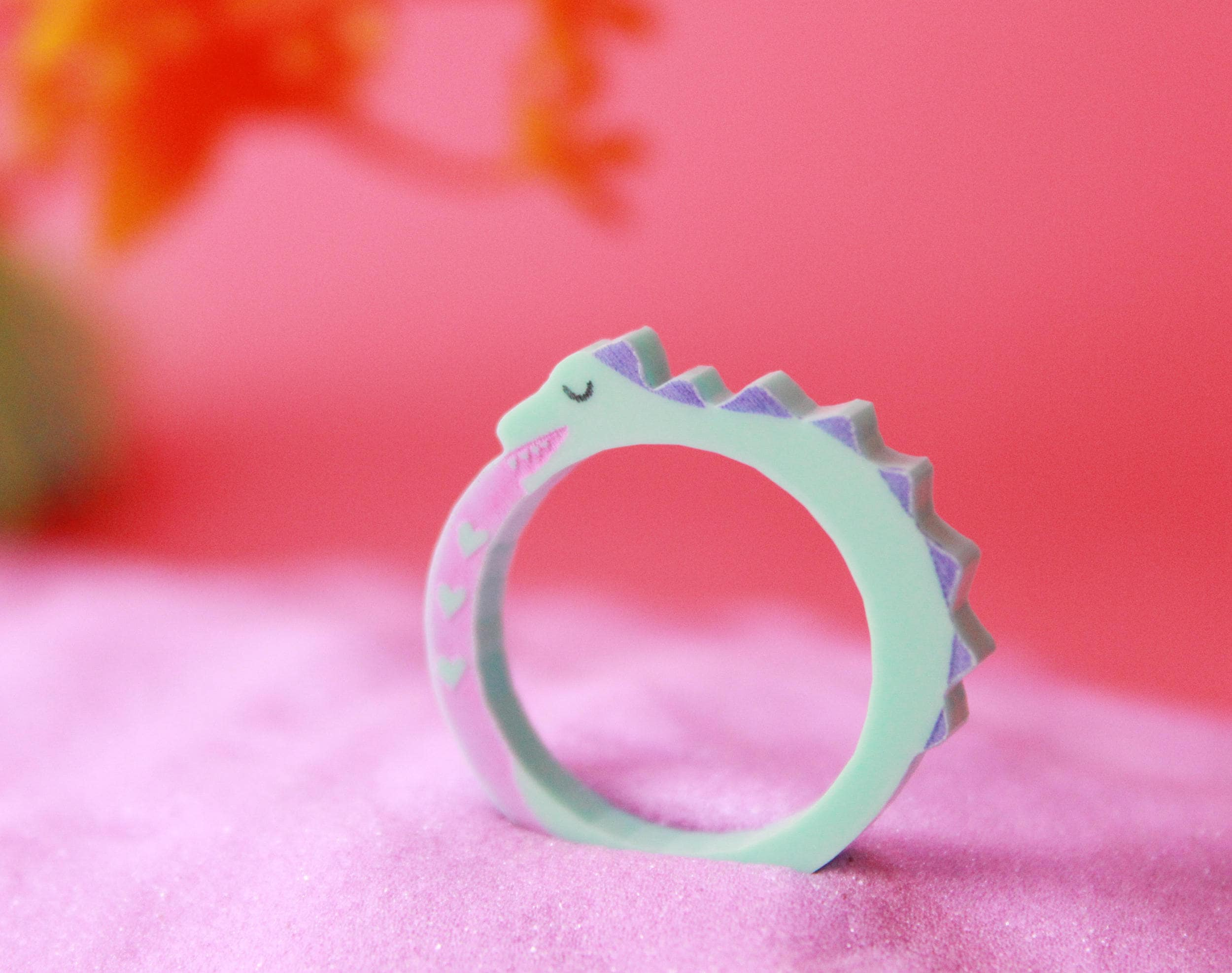 Dinosaur Ring Dinosaur Animal ring Turquoise Jurassic