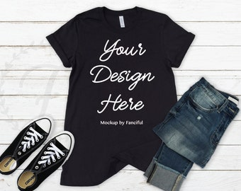 Black Shirt Mockup Bella Canvas 3001 Unisex Outfit Scene White Background Flatlay TShirt Product Photography Shirt Designs