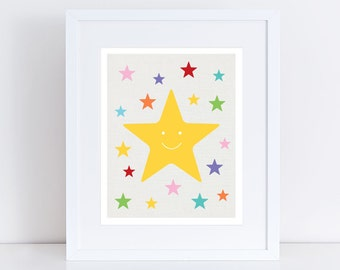 stars print, colourful kids space nursery art children baby girl boy gender neutral wall art multi-colored yellow - rainbow bright star