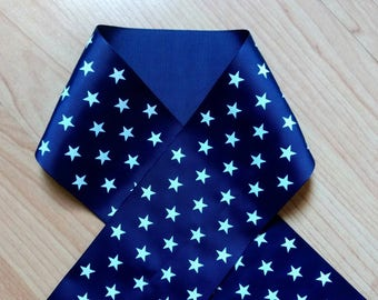 Blue Star Grosgrain Ribbon, 3 Inch Ribbon, Patriotic Ribbon, Sewing Ribbon, Craft Ribbon, Hairbow Ribbon, Scrapbook Ribbon, Dark Blue Ribbon