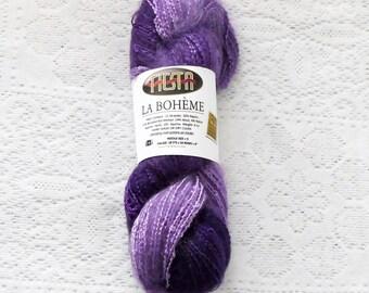 Fiesta Yarns La Boheme yarn in 155 Pansies, 165 yards per 4 oz., worsted weight yarn, rayon mohair wool nylon blend yarn, violet purple yarn