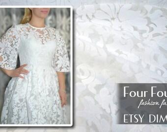 White embroidered organza lace #4862