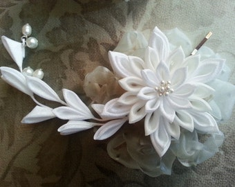 Kanzashi Snow Flake Flower - Kanzashi Fabric Flower Hair Pin