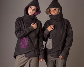 Gray wool jacket zip up coat winter coat european style