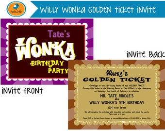 Golden ticket invite etsy willy wonka and the chocolate factory willy wonka golden ticket invite golden ticket birthday filmwisefo Images