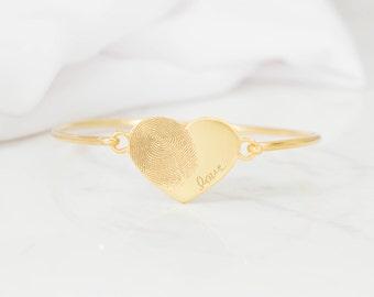 Fingerprint Jewelry - Actual Fingerprint Bangle - Custom Fingerprint in Sterling Silver - Personalized Gift - VALENTINES GIFTS