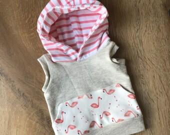 Heathered Oatmeal Kangaroo Pocket Hoodie with Coordinated Stripe Hood - You Choose Print