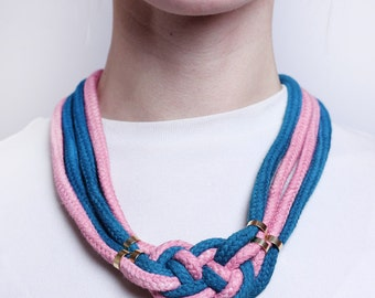 Two Tone Necklace in light pink and petrol