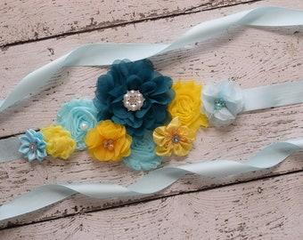 Sash, Teal yellow blue  Sash , flower Belt, maternity sash