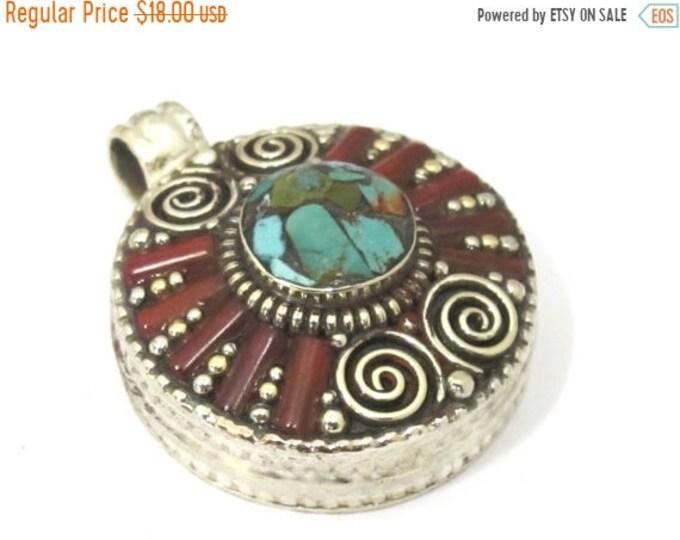 SALE 1 Pendant - Ethnic Tibetan silver Ghau prayer box  spiral design pendant with turquoise inlay  - PM426