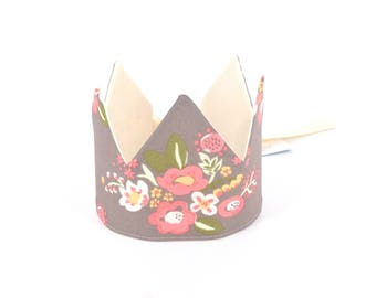 Organic Fabric Crown,  Adjustable,  Posies,  Ages 1 - 5