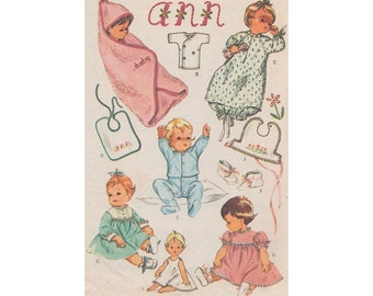 1960s Easy to Sew Baby Layette McCalls 7715 Hooded Towel, Drawstring Nightgown, Romper, Slip, Bibs, Kimono, Dresses Transfer Included