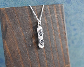 Silver Snowboard Necklace • Mothers Day present gift for mum wife girlfriend, mountains are calling, winter, alpine, sterling silver