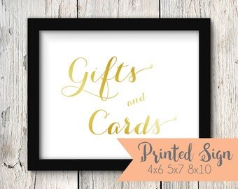 Foiled Wedding Gifts and Cards Sign, Gold Foiled Wedding Reception Sign, Wedding Gifts & Cards Sign, REAL Foil 4x6, 5x7, 8x10 (S004-CA-F)