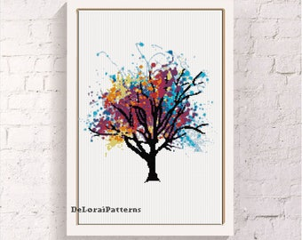Rainbow tree cross stitch pattern. Watercolor tree, cross stitch tree, decorative tree, tree wall, colorful tree, nature cross stitch.
