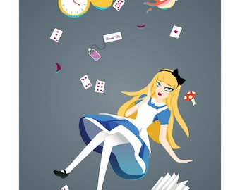Alice Through the Portal - Alice in Wonderland Portal crossover art print