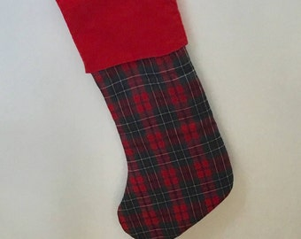 Tartan Christmas stocking, padded stocking, family stocking, Christmas gift, xmas stocking, plaid stocking, holiday decoration