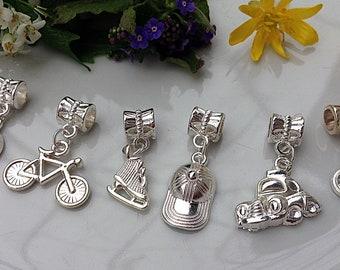 6 pcs of pendants, Bracelet pendants, Pandora Style, Bright pendants, Set of pendants, Silver color, Silver pendants, Handmade pendants,