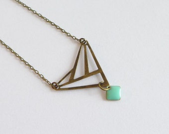 Brass Bronze necklace, Origami Art Deco Triangle and small seafoam enamel sequin. wedding day jewelry wife birthday gift