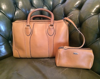 Vintage Bonnie Cashin Honey Colored LEATHER Speedy Tote Carry All PRISTINE Appears Unused