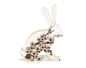 Cherry Blossom Hare Glass Sculpture