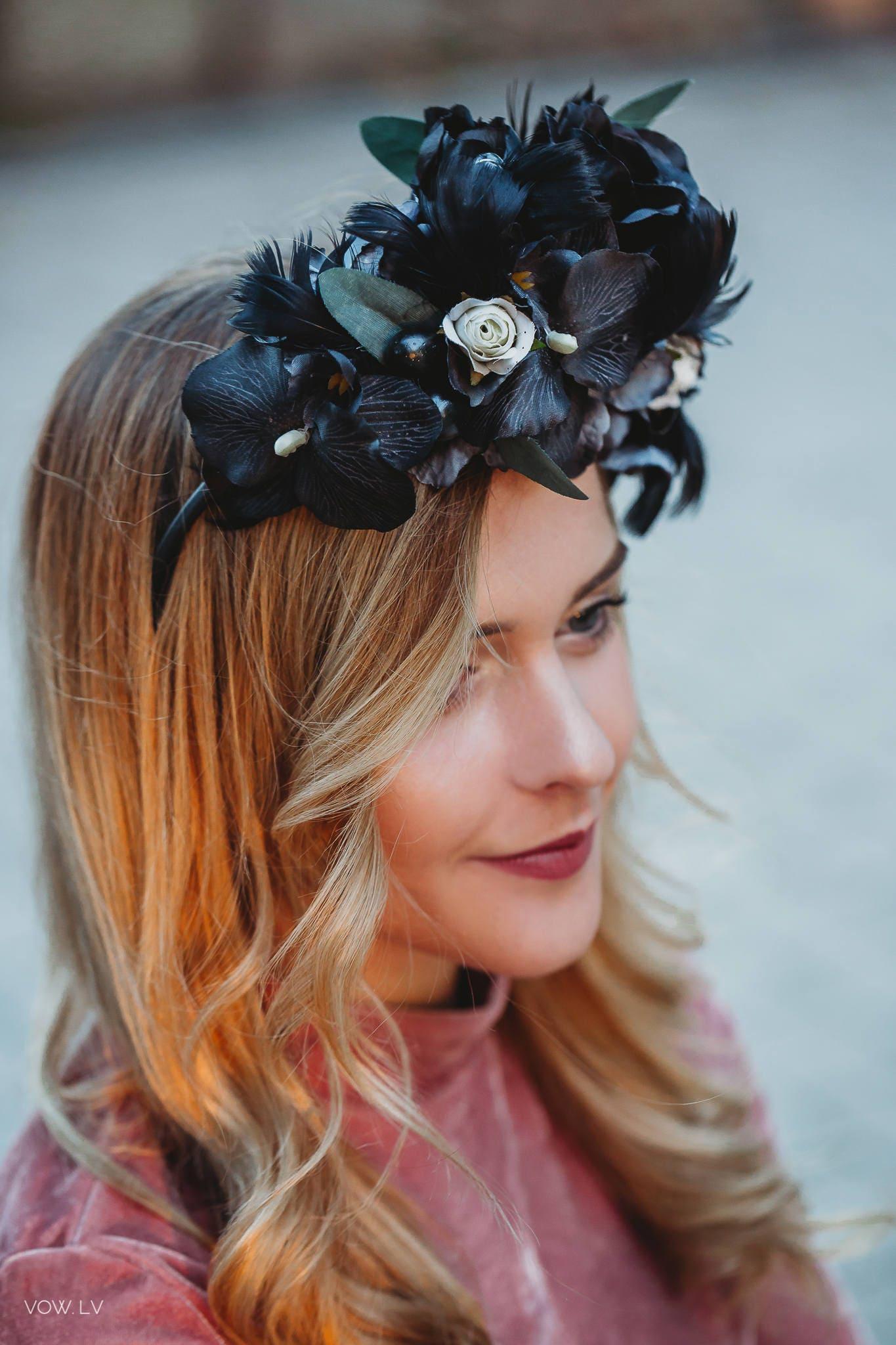 Black flower crown black flower headband rose flower crown zoom izmirmasajfo