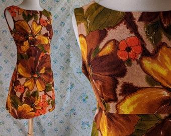 1960s mod A line Hawaiian tiki dress