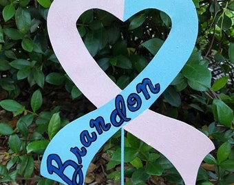 Infant Loss Heart Ribbon yard stake, Infant Loss Memorial, Infant Loss Support, Heart Ribbon Stake, Memorial Stake, Baby Heart Ribbon Yard