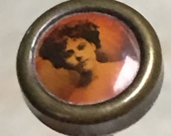 Antique Edwardian Enamel Miniature Tiny Portrait Picture Lady Hatpin Hat Pin Brooch