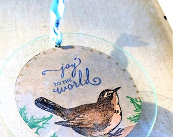 Nature inspired rustic hand stamped Christmas ornament, pretty vintage bird ornament, woodland Christmas home decor, animals, gift for her