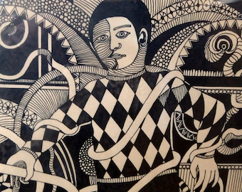 Vintage 1970s Pen & Ink Drawing. SURREAL Dreamlike Image of a Harlequin by Listed Artist Peter Dworok. Signed and dated 1975