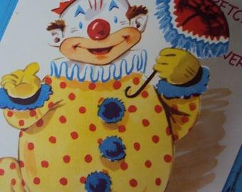 Vtg. Unused Get Well Mechanical Clown Card