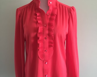 Vintage 1970s Red Striped Ruffle Blouse / Size Medium