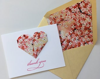 Pink & Gold Origami Heart Thank You Card