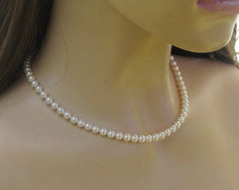 Single Strand Pearl Necklace, Classic Pearl Bridal Necklace for Bride, Mother of Bride, Bridesmaid Necklace Single Strand, Wedding Jewelry