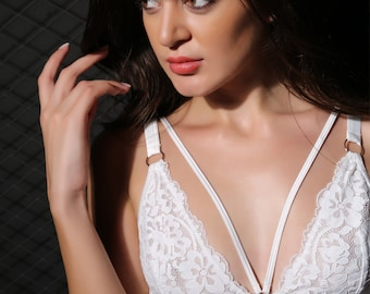 FREE SHIPPING Floral Lace Sheer Bralette Lady Bra Tops