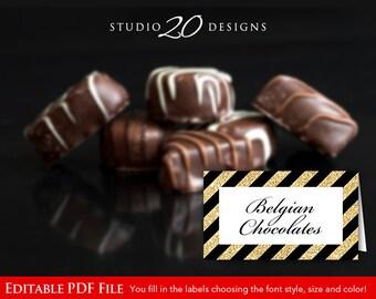 Instant Download Black Gold Glitter Food Labels, DIY Editable PDF Place Cards, Black Glitter Tent Cards, Black Folded Buffet Labels 21B