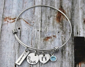 Charm Bracelet - Mother Bracelet - Personalized - Wire Bangle- Adjustable - Birthstone - New Mom - Mother's Day - Grandmother - Hand Stamped