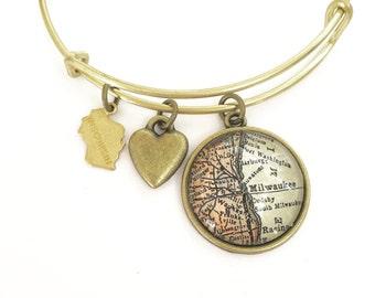 Milwaukee Map Charm Bracelet - Wisconsin - Oak Creek - Cudahy - Wauwatosa - Port Washington - Midwest - Wanderlust - Travel - MKE
