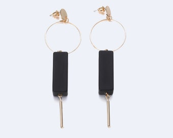 Alloy Fashion Geometric earrings (Gold + Black)