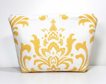 Cosmetic Zipper Pouch, Yellow Damask on White, Gadget Case, Makeup Pouch, Cosmetic Bag, Makeup Zipper Bag, Travel Bag - Ready to Ship