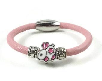 Girls Bracelet, Pink Leather Bracelet, Bunny Rabbit, Little Girls Jewelry, Childrens Jewelry, Girls Pink Bracelet, Childrens Bracelet