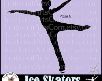 Ice Skaters Silhouettes pose 6 - Boy ice skater - 1 EPS. SVG. PNG + Small Commercial License Vinyl Ready Image [Instant Download]
