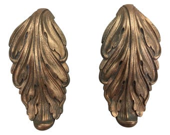 Vintage Brass Acanthus Leaf Large Door Pulls - a Pair