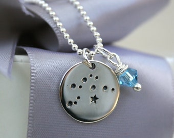 Zodiac Constellation Necklace with custom birthstone charm